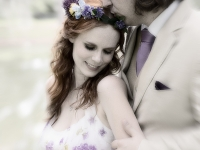 bride-groom-purple-flowers