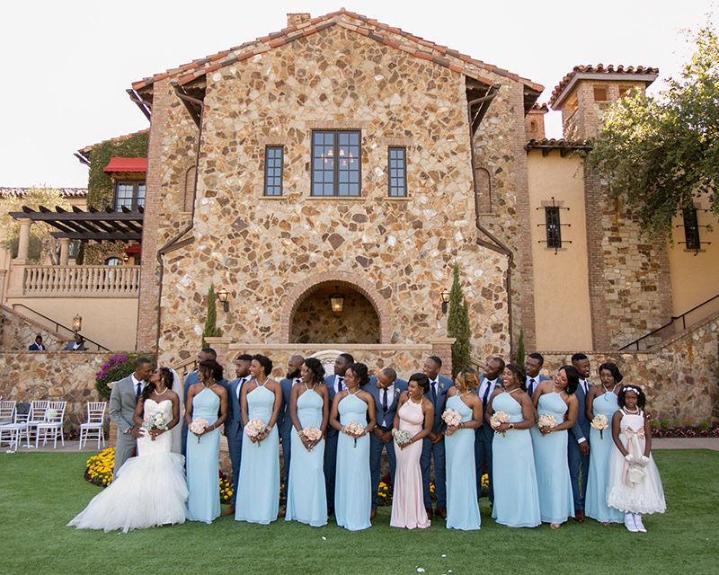 bella collina bridal party with bride and groom